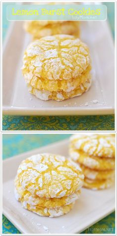 Lemon Burst Cake Mix Cookies. Enjoy the burst of lemon flavor from these light and soft baked cookies. get the full printable recipe at TidyMom.net
