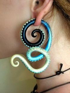 Polymer clay tentacle gauge earrings