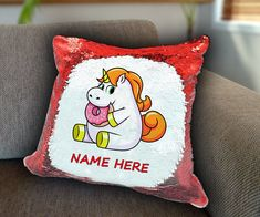 Unicorn doughnut Personalized Sequin Cushion cover with your name unicorn sequin pillow personalised sequin cushion cover magic sequin cover by funkytshirtsfactory on Etsy Sequin Pillow, Unicorn Cushion, Cushion Covers, Doughnut, Soft Fabrics, Cushions, Sequins, Magic