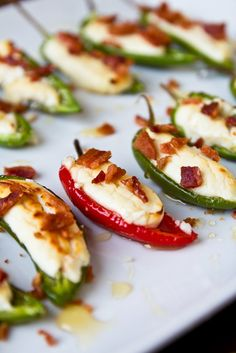 Goat cheese stuffed peppers with honey and bacon. #goatcheese #peppers #bacon