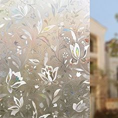LANGING 45cm /× 200 cm Film pour Vitre Sticker pour Fenetre Film Adhesif Fen/être 3D Film Fenetre Anti Regard Motif Tulipes Fleur pour Decoration Maison Bureau Portes Chambre Cuisine