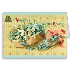 Vintage Easter Flowers Hat Box Card