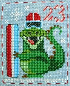 Alistair Alligator, in the Brooke's Books Advent Animals Freebies Collection by Brooke Nolan. Cross Stitch Baby, Cross Stitch Charts, Cross Stitch Designs, Cross Stitch Patterns, Cross Stitching, Cross Stitch Embroidery, Hand Embroidery, Plastic Canvas Ornaments, Cross Stitch Freebies