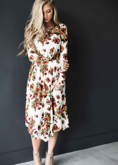 midi dress, floral, floral midi dress, easter dress, easter, fashion, style, women's fashion, ootd, blonde, blonde hair, jessakae