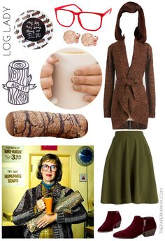 Day 2 Halloween: Twin Peaks Costume Inspiration (for the ladies). Agent Cooper, Audrey Horne, Shelly the Waitress, Log Lady, and Bob.