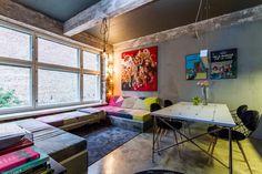 Colorful loft-apartment. <3  Myytävät asunnot, Uudenmaankatu 33, Helsinki #oikotieasunnot #loft #livingroom #olohuone Decor, Furniture, Industrial Loft, Corner Desk, Modern, Home Decor, Scandinavian Design, Desk, Industrial Chic
