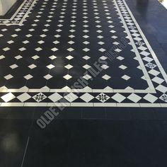 Olde English Tiles Australia - Olde english III pattern with Norwood border with Encaustics