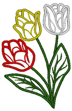 Tulips Embroidery Design 96