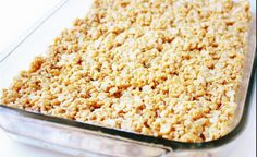 Make Rice Krispy Treats! Melt 3 tbspns butter with about 40 normal sized marshmallows. Then spread in a glass pan (don't forget to spray with non stick cooking spray). Finally, melt another 4 cups of mini marshmallows, and spread on top. Ou la!
