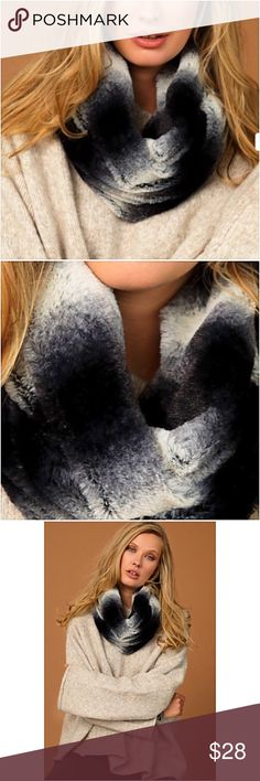 Softest Infinity Scarf Ever Ombré Faux Fur Softest scarf ever!  Luxurious ombré faux fur infinity scarf in black & ivory. 100% Polyester Blanker Accessories Scarves & Wraps