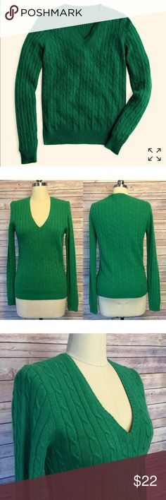 """J. Crew Cambridge Cable V-neck Sweater SZ M J. Crew Green Cambridge Cable V-neck Sweater. Relaxed fit; hits at hip; Rib trim at neck, cuffs and Hem;  Worn twice. In great condition. Size medium  Wool/ Vicose/ Angora/ Cashmere  Bust: 34"""" Length: 24"""" J. Crew Sweaters V-Necks"""