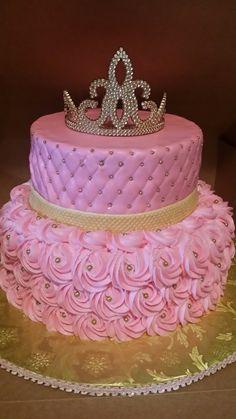 Trendy Ideas Baby Shower Ideas For Girls Princess Cake Birthday Cake Roses, Sweet 16 Birthday Cake, 1st Birthday Party For Girls, Cute Birthday Cakes, Beautiful Birthday Cakes, Quince Cakes, Crown Cake, Rosette Cake, Barbie Cake