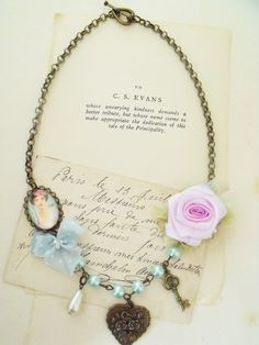 Romantic charm necklace shabby chic jewelry