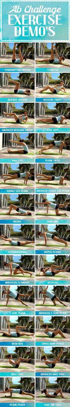 Ab Challenge Exercises Demonstrated - RunToTheFinish - - ab challenge exercises demonstrated to give ideas for new ways to work the core all month long! 7 Day Abs, Ab Day, 7 Day Ab Challenge, Pilates Challenge, Marathon, 30 Day Ab Workout, Workout Bauch, Killer Abs, Abs Women