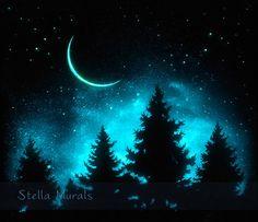 Night Sky Wall Decor  Glow in the Dark Poster  by StellaMurals
