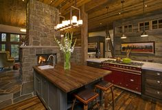Kitchen Photos Fireplace Design, Pictures, Remodel, Decor and Ideas - page 10