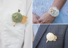 burlap & lace flower boutonnieres from Etsy | Matt & Sarah's casual, handmade Virginia wedding at Stillhouse Manor | Images: Holly Cromer Photography