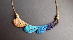 macrame leaf necklace boho bohemian hippie micro macrame multicolored necklace