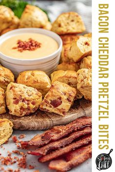 Bacon Cheddar Pretzel Bites with Cheese Sauce aren't your typical soft pretzel, they are SO much better! With crumbled bacon and cheddar cheese added right to the dough, you are going to love them! #pretzelbites #appetizer