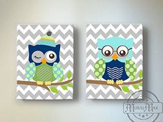 Chevron Owl Nursery Decor - OWL canvas art - Baby Boy Chevron Nursery Owl Decor woodland nursery art - Navy Aqua Green Nursery - Size 10x12
