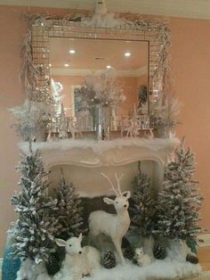 A snow-white Christmas scene :: Everything for the fireplace. That would be wonderful for … - Christmas Fireplace Decor After Christmas, Noel Christmas, Vintage Christmas, Christmas Crafts, Modern Christmas, Simple Christmas, Silver Christmas, Christmas Movies, Rustic Christmas