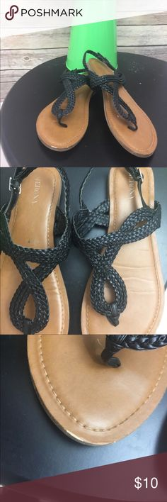 Merona Thong Braided Sandals Women's Size 6.5 Braided Thong Sandals Tan & Black Size 6.5. Good condition. See pictures. Small knick at the top of the right shoe Merona Shoes Sandals