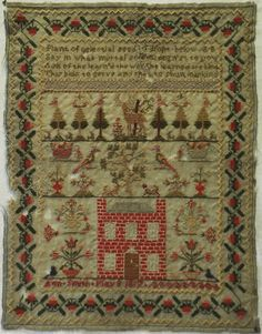 EARLY 19TH CENTURY RED HOUSE SAMPLER BY ANN SMITH - 1817