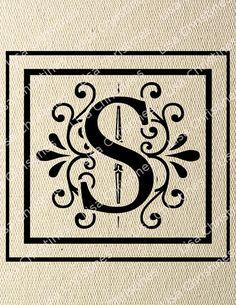 Ornamental Monogram Letter S Digital Image by LisaChristines, $1.00