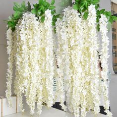 Decorative Flowers Wreaths Wholesaler Sells Extra Long White Artificial Silk Hydrangea Flower Wisteria Garland Hanging Ornament For Garden Home Wedding