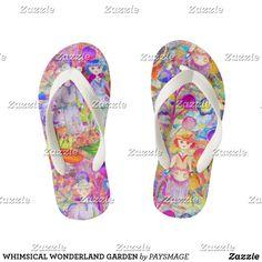 WHIMSICAL WONDERLAND GARDEN KID'S FLIP FLOPS Kids Flip Flops, Diy Face Mask, Flipping, Gifts For Dad, Whimsical, Wonderland, Kids Fashion, Slip On, Sandals