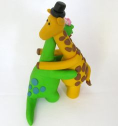 Dino and Giraffe wedding cake topper