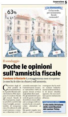 IL SONDAGGIO (d'archivio) — Pubblicato il 9 aprile 2013 — Poche le opinioni sull'amnistia fiscale. Tratto dal nostro e-paper: http://epaper.cooperazione.ch