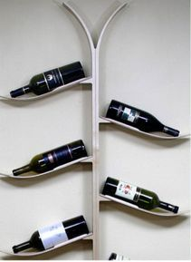 Skis as wine rack
