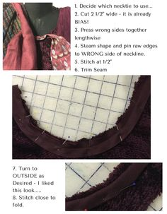 Bind a neckline with a necktie. http://blog.londasfiles.com/sweater-makeover-sewing-project/
