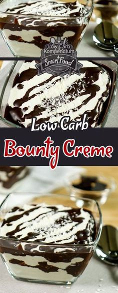 Bounty Creme - The low carb dessert to match the low carb bounty. The conversion . - Bounty Creme – The low carb dessert to match the low carb bounty. Changing to a low-carbohydrate - Low Carb Sweets, Low Carb Desserts, Healthy Desserts, Low Carb Recipes, Keto Snacks, Low Carbohydrate Diet, Low Carb Diet, Law Carb, Dessert Sans Gluten