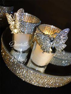 Rhinestone Votive Holder with Brooch.i just got mini candles like this at dollar tree.we can bling out. Just 15 as of now but can pick up more (Diy Candles Dollar Stores) Votive Candle Holders, Votive Candles, Mini Candles, Candleholders, Candlesticks, Wedding Centerpieces, Wedding Decorations, Christmas Decorations, Dollar Tree Centerpieces