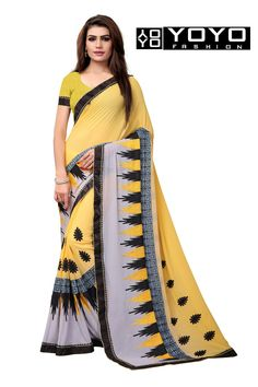 1c2e5da6df3ae Latest Georgette Yellow Embroidered Saree By