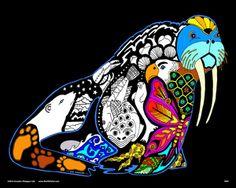 walrus 16x20 fuzzy velvet coloring poster inner nature