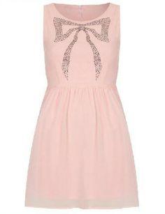 #SheInside Pink Sleeveless Rhinestone Bow Chiffon Dress