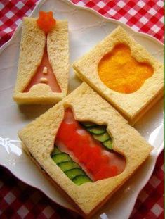 Use cookie cutters to create tea sandwiches that match the theme of your tea party! Cute Food, Good Food, Yummy Food, Tee Sandwiches, Afternoon Tea Parties, Food Humor, Tea Recipes, Creative Food, High Tea