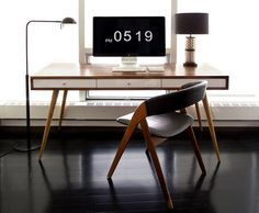 Mid Century Desk with White Gloss Drawers and Cord Management – JeremiahCollection