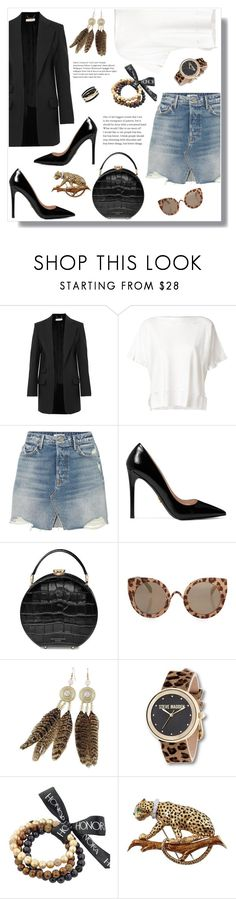"""Denim Skirt"" by daisy-schilder ❤ liked on Polyvore featuring Chloé, Issey Miyake, GRLFRND, Prada, Aspinal of London, Topshop, Steve Madden, Honora, David Webb and Effy Jewelry"