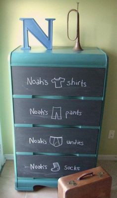 chalkboard labels for drawers.  use little signs and hang on wire drawers.  use chalk markers.