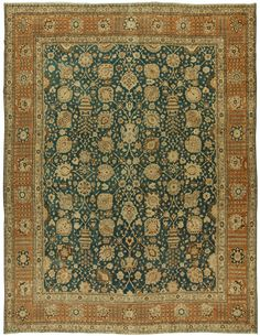 Antique Persian Tabriz Rug - Best Rugs - Ideas of Best Rugs - Persian rugs: Persian rug (antique) rug in green color oriental rug oriental pattern for modern elegant interior decor rug in living room Teal Carpet, Patterned Carpet, Carpet Colors, Rugs On Carpet, Carpet Types, Persian Carpet, Persian Rug, Tabriz Rug, Living Room