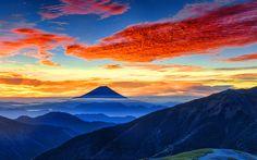 Scarica sfondi Il monte Fuji, 4k, Fujiyama, tramonto, giapponese, punti di riferimento, Asia, stratovulcano, Giappone