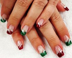 Red and Green sparkle tip Christmas Holiday nail art Christmas Present Nails, Cute Christmas Nails, Christmas Manicure, Holiday Nail Art, Xmas Nails, Christmas Nail Designs, Christmas Holiday, French Nail Designs, Gel Nail Designs