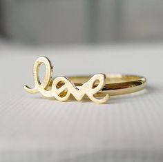 Adjustable Love ring in gold, knuckle ring, letters ring. This ring is so adorable and romantic <3