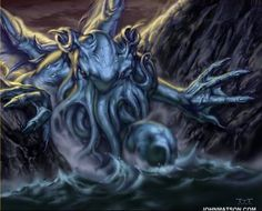 """It's well known that the great Cthulhu has a particular bond with artists of all sorts. Lovecraft's """"The Call of Cthulhu"""" it's docu. Lovecraft Cthulhu, Hp Lovecraft, Yog Sothoth, Call Of Cthulhu Rpg, Eldritch Horror, Macabre Art, Horror House, Monster Art, Fantasy Artwork"""