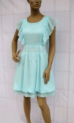 BL1345 Light Blue Ruffle Sleeve Cotton Dress Size M | eBay