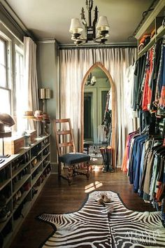 curtains behind the mirror and perhaps more storage behind the curtains? Vintage Inspired Dream Closet